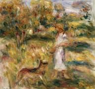 Пейзаж с женщиной в голубом - Ренуар, Пьер Огюст
