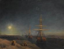 Корабли, идущие по каналу лунной ночью - Айвазовский, Иван Константинович