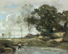 Пейзаж с рыбаком, устанавливающим сеть - Коро, Жан-Батист Камиль
