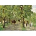 Дорога в Тиргартене со всадниками и гуляющими, 1923 - Либерман, Макс