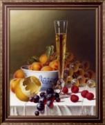 Натюрморт с фруктами и шампанским на скатерти - Ходриэн, Рой