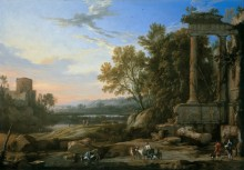 Итальянский пейзаж с пастухом и римские руины - Патель, Пьер-Антуан (Старший)