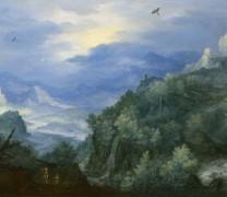 Горный пейзаж с водопадом - Брейгель, Ян (Старший)