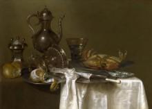 Натюрморт с оловянной и серебрянной посудой и крабом -  Хеда, Виллем Клас