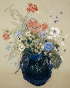 Цветы в синей вазе - Редон, Одилон