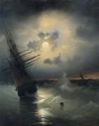 Парусный корабль на закате в бушующем море - Айвазовский, Иван Константинович