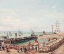Порт в Гавре, утреннее солнце, прилив - Писсарро, Камиль