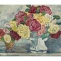 Букет цветов на синем фоне - Вальта, Луи