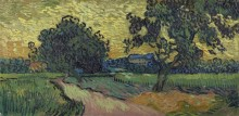 Пейзаж с Шато Овер на закате (Landscape at Twilight), 1890 - Гог, Винсент ван