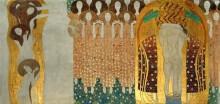 Бетховенский фриз - Поиски счастья находят отражение в поэзии (Искусства, хор ангелов и обнимающаяся пара) - Климт, Густав