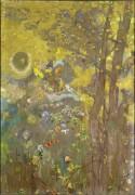 Деревья на желтом фоне - Редон, Одилон