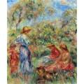 Три девушки с ребенком на фоне пейзажа - Ренуар, Пьер Огюст