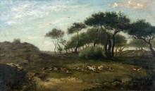 Свора, преследующая лисицу - Добиньи, Шарль-Франсуа