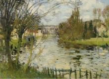 Деревушка на берегу реки (Village at the Bank of the River) - Монтезин, Пьер Эжен