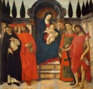 Мадонна с Младенцем и святые Доминик, Косьма, Дамиан, Франциск, Лаврентий и Иоанн Креститель - Боттичелли, Сандро