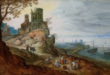 Портовый пейзаж с руинами - Брейгель, Ян (младший)