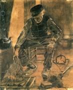 Старик кладет сухой рис на очаг (An Old Man Putting Dry Rice on the Hearth), 1881 - Гог, Винсент ван