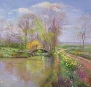 Весенний пейзаж с мостиком