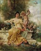 Молодая дама в парке и Амур - Зацка, Ханс