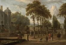 Элегантная компания в саду особняка - Шторк, Авраам