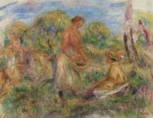 Девушки на фоне пейзажа - Ренуар, Пьер Огюст