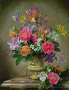 Пионы и ирисы в керамической вазе - Вильямс, Альберт