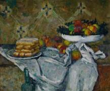 Ваза с фруктами и тарелка с бисквитами - Сезанн, Поль