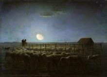 Отара овец, освещаемая лунным светом - Милле, Жан-Франсуа