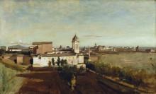 Вид церкви Тринита деи Монти от виллы Медичи - Коро, Жан-Батист Камиль