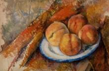 Четыре персика на тарелке - Сезанн, Поль