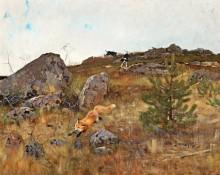 Пейзаж с охотой на лисицу - Лильефорс, Бруно