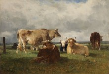 Стадо коров на пастбище - Труайон, Констан