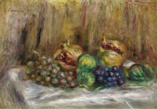 Натюрморт с гранатами, фигами и виноградом - Ренуар, Пьер Огюст