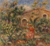 Пейзаж с женщиной с собакой - Ренуар, Пьер Огюст