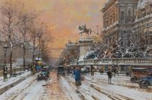 Набережная Отель-де-Виль в снегу - Гальен-Лалу, Эжен
