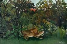 Голодный лев, напавший на антилопу - Руссо, Анри