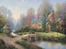 Пейзаж с особняком и мостиком через ручей - Кинкейд, Томас