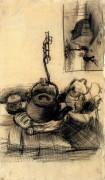 Чайник над костром и домик ночью (Kettle Over a Fire, and a Cottage by Night), 1885 - Гог, Винсент ван