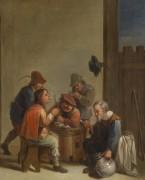 Интерьер таверны с пьющими и курящими мужчинами - Брауэр, Адриан