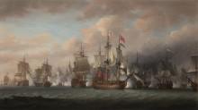 """Флагман адмирала Родни """"Грозный"""", 98 пушек, обстреливают врага - Покок, Николас"""