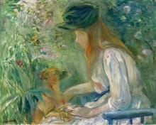 Молодая женщина с собачкой, 1892 - Моризо, Берта
