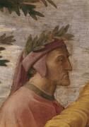 Станца делла Сеньятура: Диспута (фрагмент - Данте Алигьери) - Рафаэль, Санти