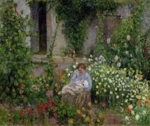 Мать с ребенком среди цветов - Писсарро, Камиль