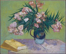 Натюрморт: ваза с олеандрами и книгами (Majolica Jar with Branches of Oleander), 1888 - Гог, Винсент ван