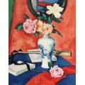 Розы в вазе на оранжевом фоне - Пепло, Самуэль Джон