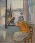 Молодая женщина смотрит в окно на остров Йе, 1920 - Лебаск, Анри