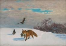 Лисица с добычей в зимнем пейзаже - Лильефорс, Бруно