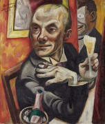 Автопортрет с бокалом шампанского - Бекман, Макс