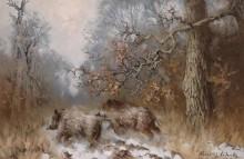 Лесной пейзаж с дикими кабанами - Шац, Арнольд