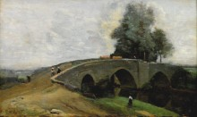 Пейзаж с мостом - Коро, Жан-Батист Камиль